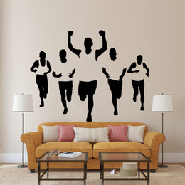 Wholesale People Walking - Five Athletes Wall Stickers Living Room Bedroom Office Walking Sportsman Wall Decal Home Decor Wall Applique Wallpaper Poster for Wall Decor