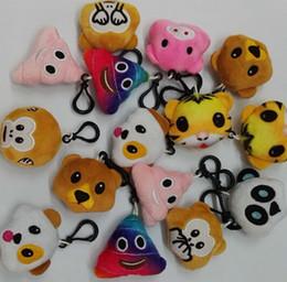 Wholesale Panda Plush Keychain - 22 style 5.5cm 2.16inch Monkey love Pig pooh dog panda Emoji plush Keychain emoji Stuffed Plush Doll Toy keyring for Mobile Pendant