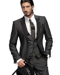 Wholesale Groom Suits For Sale - 2015 Hot Sale!Custom Made One Button Groom Tuxedos Wedding Suit for men Groomsman Suit Boys Suit Jacket+Pants+Tie+Vest Bridegroom Suit