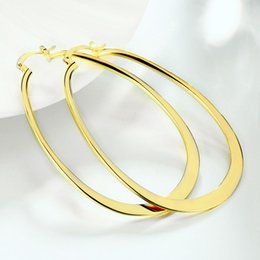 Wholesale Girl Huge - 7.1CM huge round Hoop girls summer styles circles earrings golden e068 clasccic 2016 New Jewelry wholesale