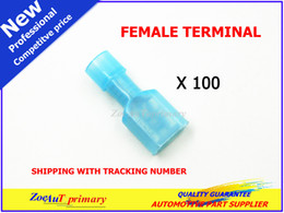 Wholesale Female Spade Terminal Insulated - 100pc pack Blue Female Nylon Insulated Spade Crimp Wire Terminal Connector16-14 Gauge FOR CAR