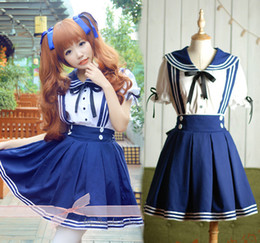 Wholesale Japanese Princess Anime - Wholesale-high quality Japanese School Uniform Cosplay Costume Anime Girl Maid Sailor Lolita Dress Sailor suit students princess dress