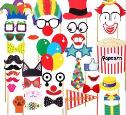 Wholesale Photo Nose - Circus mask camera props birthday party decoration clown red nose paper glasses hat Photo taking performance booth props