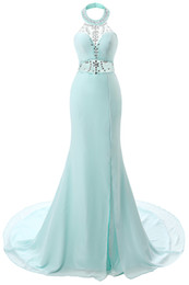 Wholesale Long Aqua Beaded Prom Dress - 2017 New Aqua Sexy Halter Crystal Prom Dresses Sheer Beaded Backless Mermaid Long Prom Evening Gowns Split Arabic Party Dresses
