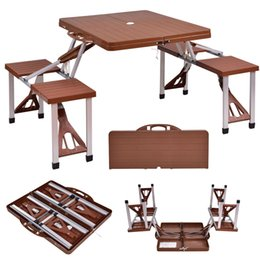Wholesale Foldable Outdoor Tables - Outdoor Foldable Portable Aluminum Plastic Picnic Table Camping w  Bench 4 Seat