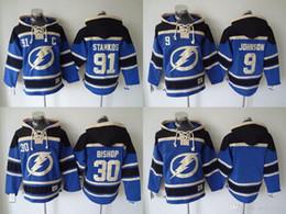 Wholesale Men Blank Sweatshirts - NHL Tampa Bay Lightning hoodies cheap hockey jerseys hoody Sweatshirts STAMKOS#91 JOHNSON#9 BISHOP#30 Blank blue 1pcs freeshipping