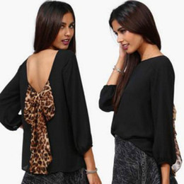Wholesale Leopard Bow Blouse - New 2016 Sexy Women's Fashion Leopard Chiffon Halter Loose Shirt Tops Blouse Orange Black Pink Yellow Backless Shirts 4 Colors