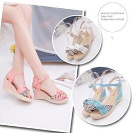 Wholesale Roman Sweets - new summer sweet Korean buckle waterproof high-heeled fish head Roman printed wedge sandals