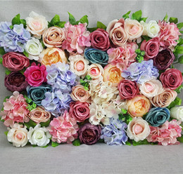 Wholesale Led Silk Roses - 1pcs Artificial Flowers Wall For Wedding Flower Backdrop Silk Rose Peony Hydrangea Flowers Wall Road Leading Flowers Event Party Supplies
