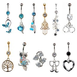 Wholesale Gold Plated Piercing 14g - 1Pc 14G Rhinestone Silver Gold Retro Anchor Cat Owl Snake Navel Belly Button Ring Body Piercing Body Jewelry Gifts