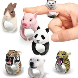 Wholesale Stretch Bands For Rings - Birthday Gifts Adjustable Animal Wedding Band Ring Funny Lady Stretch Women 3D Animal Finger Ring Panda Dog Rings for Women Tiger
