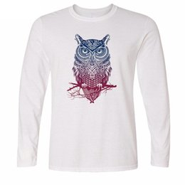 Wholesale Long Sleeve Owl Shirt - Men's long sleeve T-shirt Trendy Fashion OWL print T Shirts Casual O Neck Men Tops long Sleeve Tees tshirt 2017 L01