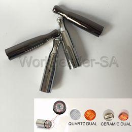 Wholesale Ego Wax Vaporizer Skillet - Skillet V2 Metal Atomizer Wax Vaporizer with Dual ceramic coils and Quartz coils Metal Drip Tip for eGo Evod battery