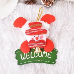 Wholesale Christmas Door Bells Decorations - NEW Merry Christmas Bell Door Decoration Hanging Doorplate WELCOME Santa Claus Christmas Tree Decorations Ornaments 13x11cm