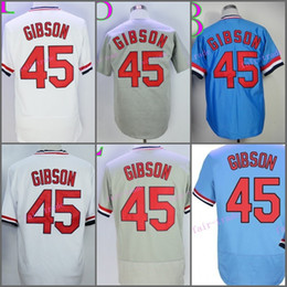Wholesale Grey Buttons - St. Louis Retro 45 Bob Gibson Jersey Baseball Cooperstown Vintage 1967 Flexbase Cool Base Pullover Button White Grey Blue Red