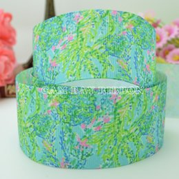 "Wholesale Grosgrain Ribbon Flowers - 50 Yards 1.5"" 38mm Lilly Ribbons Flowers Green Printed Grosgrain Ribbon DIY Bow Material Ribbons Sewing Supplies Tape Scrapbooking"