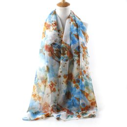Wholesale Wholesale Black Chiffon Scarves - Women Lady Chiffon Cute Floral Print Scarf for Women Spring Shwal Wrap Neck Scarf Voile Scarves -Various Colors