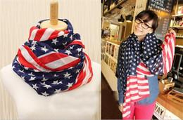 Wholesale american flag scarves - American Flag Scarves Pentagram Chiffon Scarf USA Flag Scarf Patriotic Stars and Stripes American flag Scarf for women Wrap R057