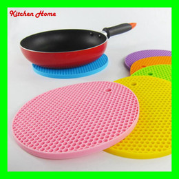 Wholesale Wholesale Table Mats - DHL Free Shipping Round Silicone Non-Slip Heat Resistant Pot Mats Holder Coaster Cushion Placemat Pot Table Mat