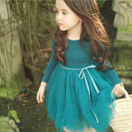 Wholesale Solid Light Blue Ball Gown - Branded 2016 baby girls dress Long sleeve fairy tutu cotton party dress Middle children clothes kindergarten pink white