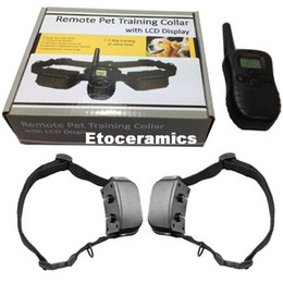 Wholesale Electric Bark Stop Collar - For 2 dogs Remote control Dog Training Collar Electric Shock Bark Stop 100 Level 998D with retail box Free Shipping 10pcs