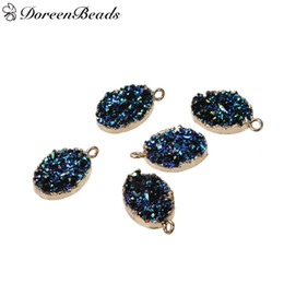 """Wholesale Druzy Charms - Resin Druzy  Drusy Charms Oval Gold Plated Blue AB Color 22mm x13mm( 7 8"""" x 4 8"""") - 21mm x13mm( 7 8"""" x 4 8""""), 2 PCs 2016 new Free shipping j"""