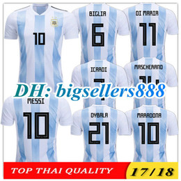 Wholesale Shirt Football Argentina - TOP QUALITY 2018 World Cup MESSI DYBALA ICARDI Argentina home blue soccer jersey 17 18 AGUERO DI MARIA HIGUAIN BIGLIA away football shirts