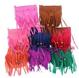 Wholesale Girls Kids Handbags Vintage - Kids Tassel Shoulder Bags Vintage Tassel bag girl Messenger Bags fashion Tassel bag Hot Faux Suede bag Fringe Handbag tote bags free ship