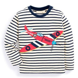Wholesale 3t Tops - Cool Boys T shirt Long sleeve Boys clothing Striped Cartoon Helicopter European New style 2017 Autumn Spring Bottom Top 1-6T Wholesale