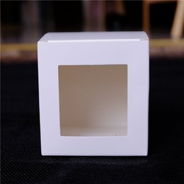 Wholesale Candle Gift Pack - Wholesale- White Paper window Box Birthday Gift Craft Candy Candle Packing Cardboard Boxes Free Shipping