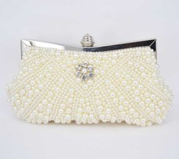 Wholesale Pearl Bow Phone Cases - Women Party Handmade White Pearl Hard Case Beading Evening Shoulder Clutch Bag Bridal Wedding Beaded Hand bags Metal Clutches