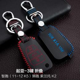 Wholesale Kia Sportage Remote - For Kia SPORTAGE K5 K2 SORENTO Hand-Sewing Genuine leather Remote Control Car Key chain Car key cover 3 Buttons Folding Auto Accessories