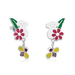 Wholesale Butterfly Jewelry Earrings - Son de acero inoxidable Fashion Women beautiful Enamel colors cute butterfly pineapple style women earrings jewelry never fade