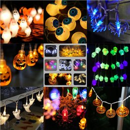 Wholesale Halloween Plastic Skeleton - Halloween Pumpkin Skeleton Eyes bat Lantern 3D Plastic Skull String Light LED Pumpkin Bat Spider Min fairy Lights Christmas Holiday Decor