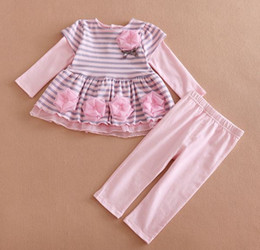 Wholesale Childrens Fall Outfits - baby clothes fall autumn baby girls boutique outfits kids striped long sleeve dress flower top + cotton pants childrens sets wholesale 2016