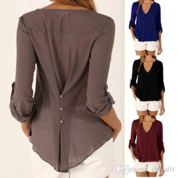 Wholesale Pleated Sleeve Blouse - Women Plus Size Tops Elegant V-neck Casual Fashion Blouses Long Sleeved Chiffon Autumn Spring Summer Tees