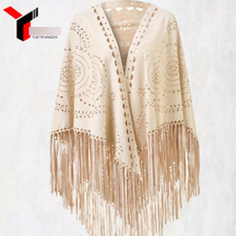Wholesale Womens Poncho Cloak - Womens cloaks coat fashion lady flowers hollow suede poncho Tops Tassel lace Cloak Shawl scarf for mommy cardigan outwear R0619