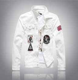 Wholesale Mens Jacket Hooded - Wholesale- High quality New white Men's Denim Jacket fashion Jeans Jackets casual streetwear Vintage Mens jean clothing