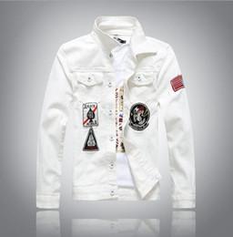 Wholesale New Denim Jacket - Wholesale- High quality New white Men's Denim Jacket fashion Jeans Jackets casual streetwear Vintage Mens jean clothing