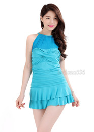 Wholesale Gauze Swimsuits - 2016 new sexy gauze skirt type swimsuit female Siamese boxer swimsuit Hot Springs was thin swimsuit