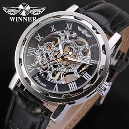 Wholesale Skeleton Dress Sale - Crazy sale Winner Watch best price new Mechanical watch men wristwatch silver color skeleton dress wrist watch free shipping