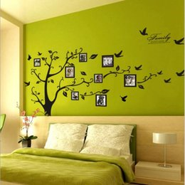 Wholesale Black Photo Tree Wall Decal - 200 * 250 large black FAMILY tree frame photo wall paper memory Large Room Photo Frame Art Decoration Wall Decal Sticker Tree Wallpaper Kids