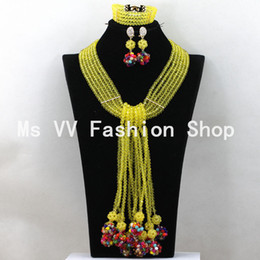Wholesale Copper Pink Crystal Bracelet - 2016 Luxury yellow fushia Long Necklace Set Crystal Balls Pendant african beads Women Jewelry Set 2016 New Free Shipping