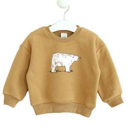 Wholesale Kawaii Knitting - Wholesale- 2016 Fashion Kids Knitting Cashmere Sweater Coat Kawaii Boys Girls Knitted Sweaters Infant Cartoon Bear Thickening Sweatshirts