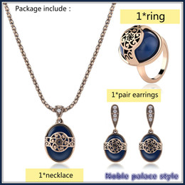 UK palace wedding dress - Women's party dress Fashion European and American Noble Palace Style High-End Necklace+Earrings+Ring Three-Piece Jewelry Set
