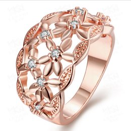 Wholesale Rose Gold Flower Ring - Fashion jewelry diamond flower ring hollow Ms. Europe 18K rose gold and gold plated jewelry wholesale