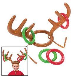 Wholesale Christmas Inflatables Outdoors - Cute Deer Head Shape Ferrule Game Tools For Kids Inflatable Toys For Outdoor Games Christmas Decor B1001