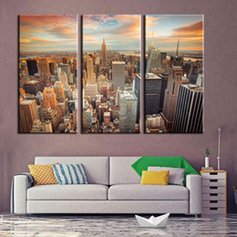 Wholesale Paris Art Canvas - Modern oil painting art gallery 3 pieces of cloth Paris Tower view of the night view of the city in the canvas on the canvas of the family w