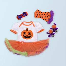 Wholesale Leopard Bodysuit Costume - Halloween Costume Baby Girl Dress For Party Cotton Pumpkin Bodysuit Sets Halloween Cosplay Outwear 4pcs set Infant Clothing