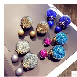 Wholesale Ear Studs Backs - Two-sided Ball Earring Small & Big balls punch ball and star Studs Front and Back Earrings double side Backing Ear Nail Wholesale